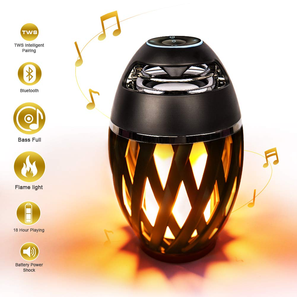 Led Flame Speakers, Djtanak Torch Ambience Portable Outdoor Wireless Speakers with HD Audio and Enhanced Bass, Night Light Desk Lamp with LED Flickers for iPhone/iPad/Android, Perfect Gift