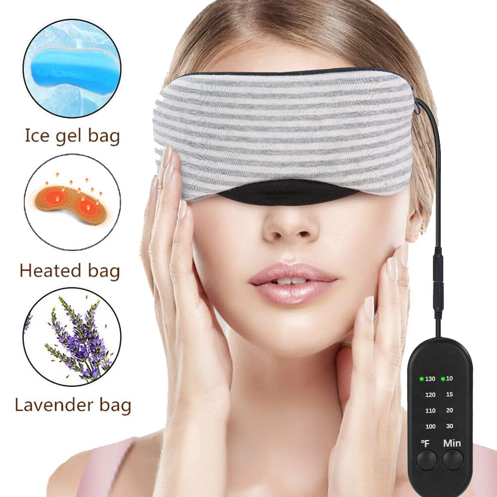 Heated Eye Mask, Esonmus USB Sleep Mask with Adjustable Temperature and Time Control, Warm and Cold Massage to Relieve Dry Eye Syndrome, Eye Stress, Tired Eyes, with Earplugs by esonmus