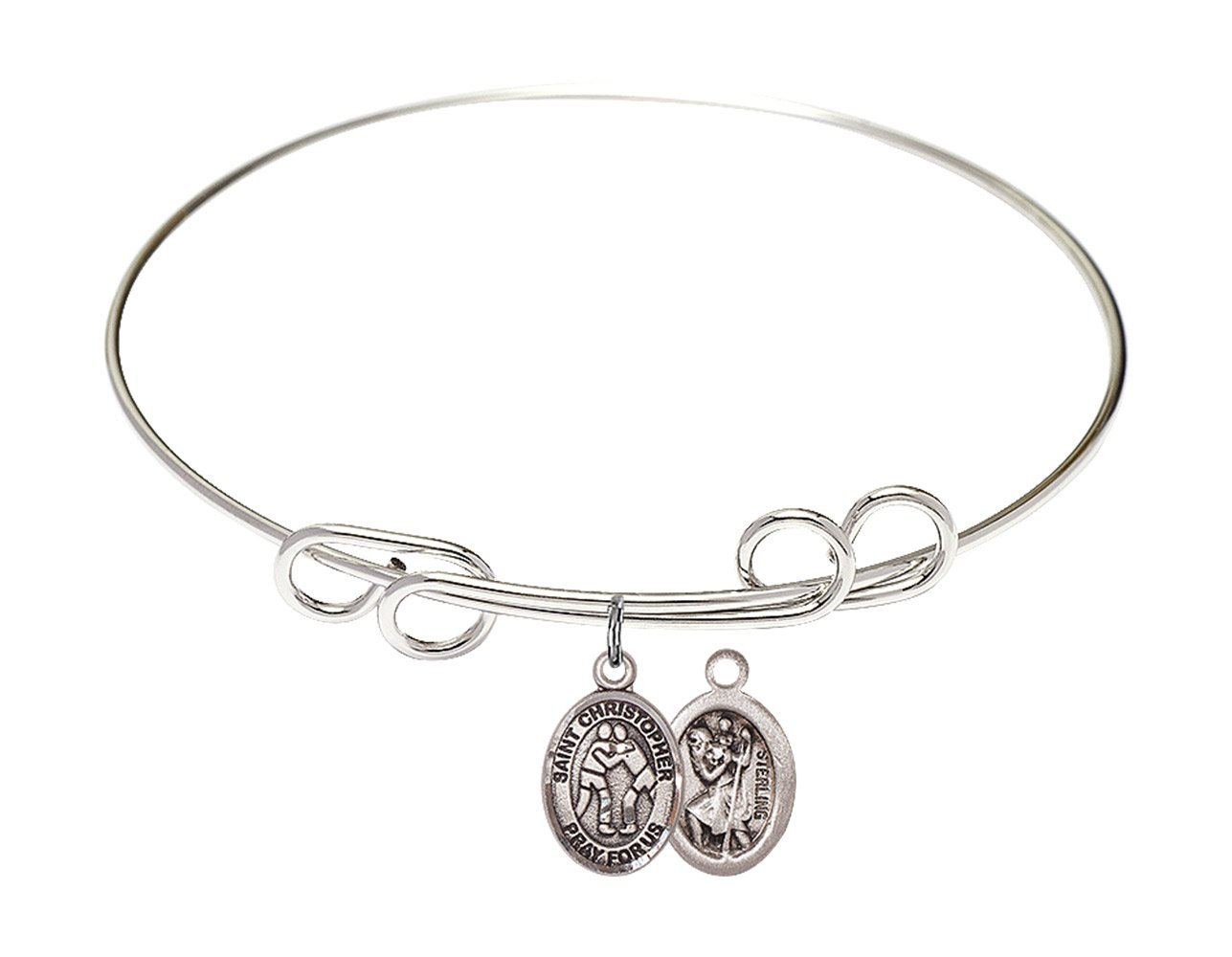 8 inch Round Double Loop Bangle Bracelet with a St. Christopher/Wrestling charm.