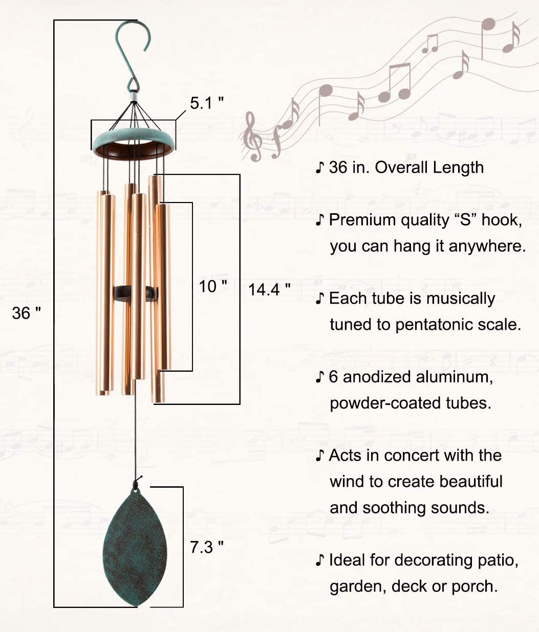 Elyxwork Wind Chimes Outdoor Large Deep Tone, 36 Inch Sympathy Musical Windchimes with 6 Tubes Tuned, Unique Aluminum Chimes for Memorial Gift or Garden Decor : Garden & Outdoor