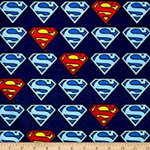 Superman Shield Flannel Navy Fabric By The Yard