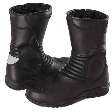 Modeka Stivali da moto, in pelle, di colore nero