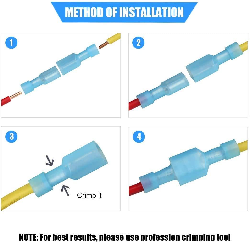 GTIWUNG Conectores de Crimpado de 100 piezas terminal de crimpado de conector de cable bullet 50 hembra y 50 macho para cables entre 0,5 mm y 1,5 mm/² conectores el/éctricos Rojo