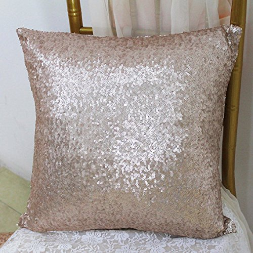 ShinyBeauty 20x12-Inch-Fabric Pillow Covers,Glitz Throw Pillow Slip Cover,Champagne Sequin Accent Pillows Case