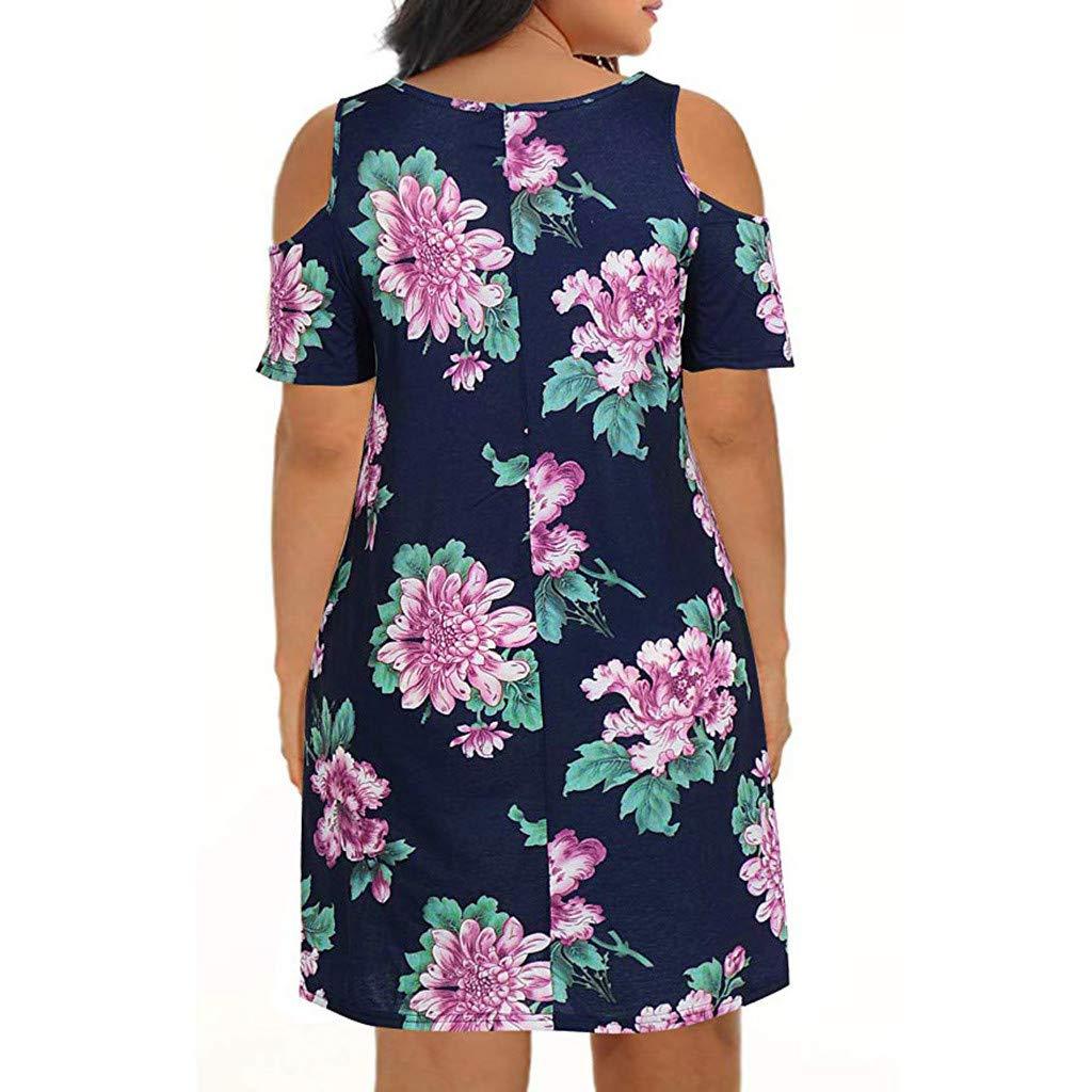 Sttech1 Women Ladies Summer Cold Shoulder Plus Size Casual T-Shirt Pocket Dress Purple