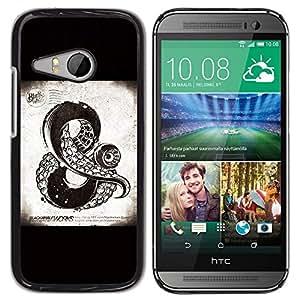 YiPhone /// Prima de resorte delgada de la cubierta del caso de Shell Armor - And Sign Kraken Sea Monster Black - HTC ONE MINI 2 / M8 MINI