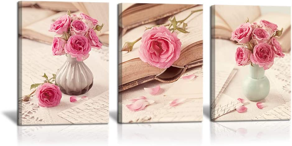 "3 Piece Vintage Canvas Wall Art Pink Peony Flowers Bouquet with White Vase on Books Pictures Romantic Floral Painting Prints Gift Framed for Home Bathroom Bedroom Wall Decor 12"" x 16"" x 3 Panels"