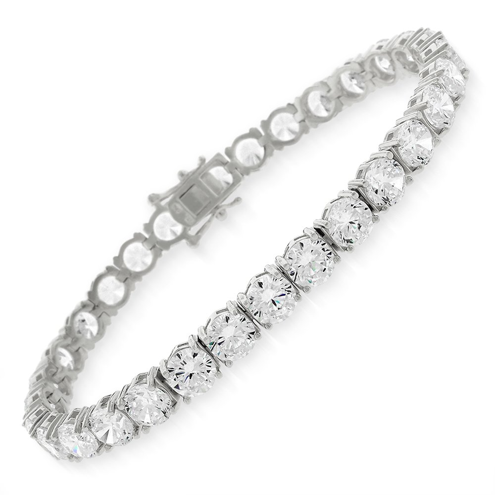 Sterling Silver 5.5mm Brilliant-Cut Clear Round CZ White Tennis Bracelet 6.5'', 7'', 8'' (8)