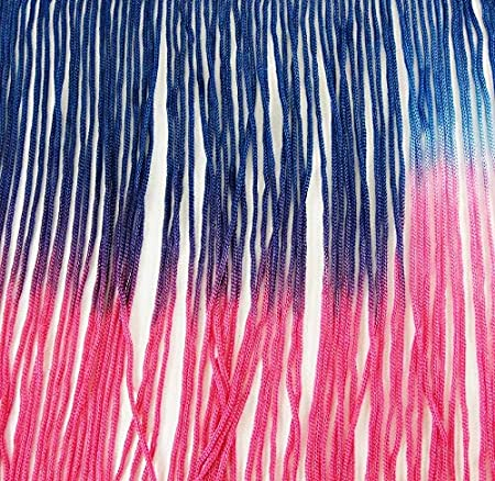 Hand Dyed Sewing Renaissance Dance Hawaiian Costumes Outfit Drapery 7 Long Tie-Dye Ombre Multicolor Chainette Thread Yarn Tonal Loop Fringe Royal Blue Fuchsia Magenta Dark Pink Shades 1 Yard