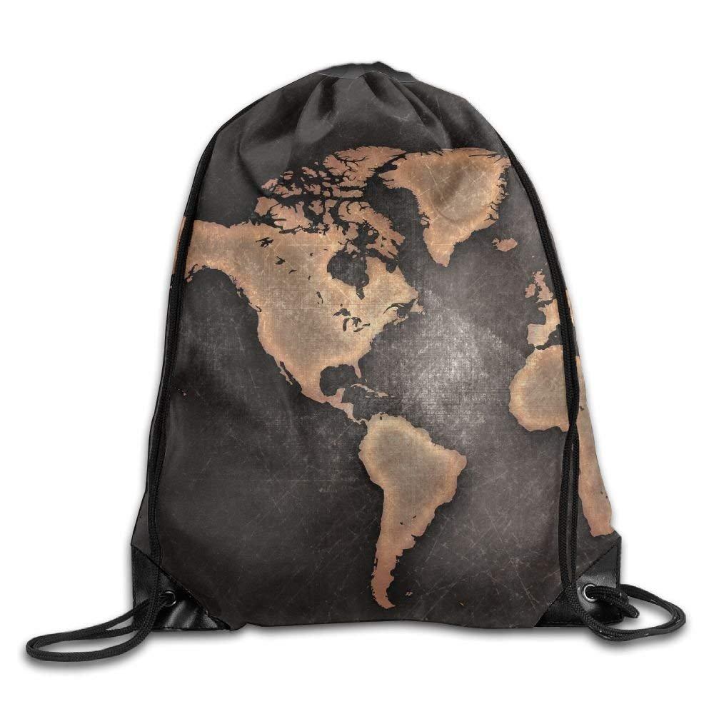 Drawstring Backpack Gym Bag Travel Backpack, World Map, Cute Gym Bag for Women Men Adults