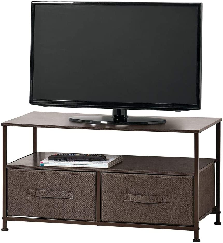 mDesign Fabric Storage TV Stand Organizer Unit - Sturdy Steel Frame, Wood Top, 2 Easy Pull Fabric Bins - Organizer Entertainment Unit for Bedroom, Living Room, Playroom - Espresso Brown