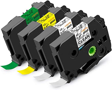 """10PK TZe131 Compatible//Brother 12mm 0.47/"""" Black//Clear Label Tape  P-Touch PTD210"""
