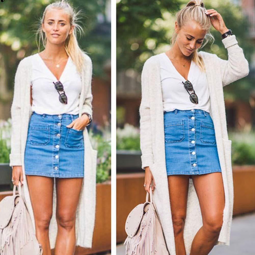 df223c9b0 Tidecc Women Button Denim Skirt High Waist Bodycon Slim Pencil Short Mini  Skirt Jean Skirt Dress: Amazon.co.uk: Clothing
