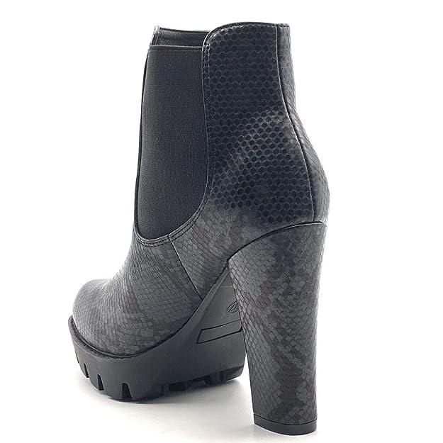 Angkorly scarpe moda stivaletti scarponcini stivali scarponi zeppe biker chelsea boots donna effetto pitone pitone stampa animalier tacco a blocco
