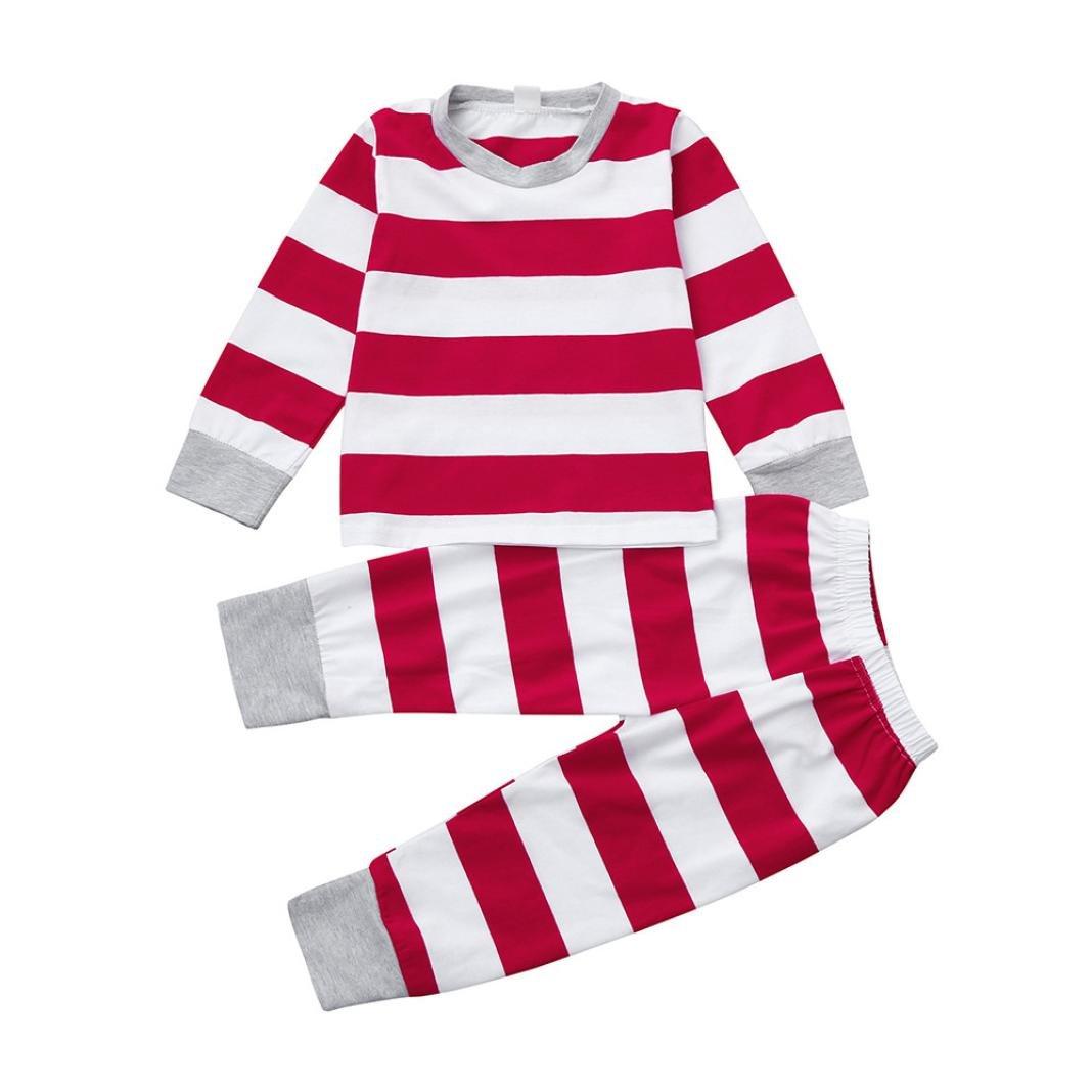 Hirolan Strampelanzug Baby Babykleidung Neugeborenen Overall Christmas Jogginganzug Kids Schlafanzug Girls Boys Stripe Tops Langarmshirt +Krabbelhosen 2Pcs Cotton Outfits