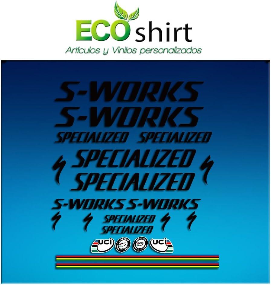 Ecoshirt 46-W1LL-5ODA Stickers S Works Specialized Aufkleber Decals Autocollants Adesivi R84 Black