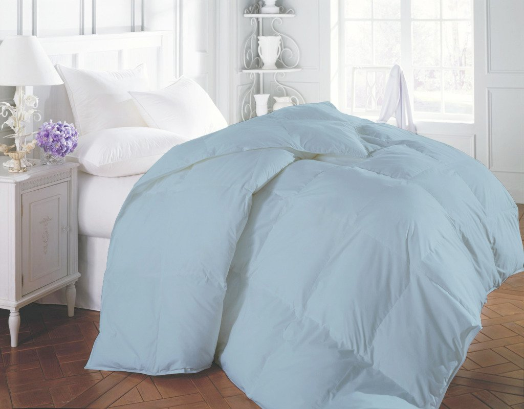 1200 TC Egyptian Cotton All Season Down Alternative Comforter Duvet Hypoallergenic Double Brushed for Superior Softness Light Blue King By BED ALTER Solid (300 GSM Microfibre filling)