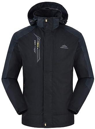 804ac7f1c5 Rdruko Men s Autumn and Winter Outdoor Hooded Jacket Casual Coat  Lightweight Windbreaker(Black