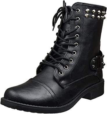 Womens Ankle Boots Faux Leather Spiked