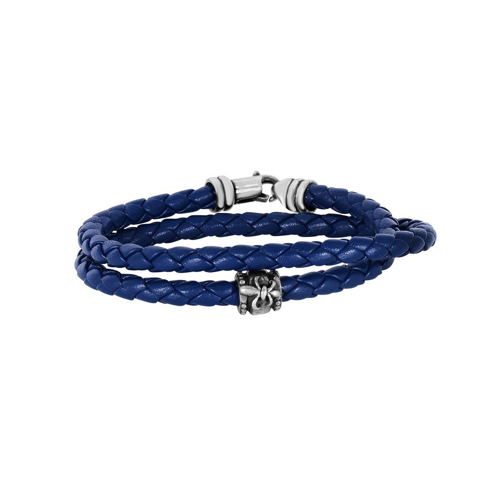 Navy Blue Leather 4mm Braided Round Wrap Around Bracelet Oxidized Ss Clasp Fleur De Lis Symbol 8 In