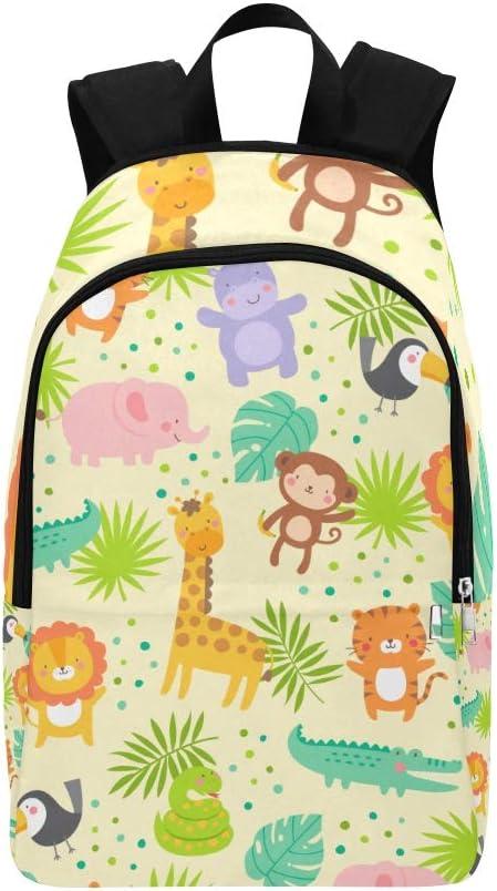 College Daypack Cute Cartoon Fun Zoo Animal Flower Leaf Durable Water Resistant Classic Sports Bag Women Bag Casual Women College Daypack Kids Sports Bag