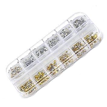 Scrox Taladro AB de Fondo Plano Diamantes Colorido Rivet de Gemas Nail Art DIY Herramienta (Plata Oro): Amazon.es: Hogar
