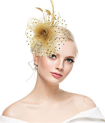 Gold Fascinators for Women Flower Cocktail Tea Party Feather Headwear Top  Hats Wedding Headband for Girls at Amazon Women's Clothing store