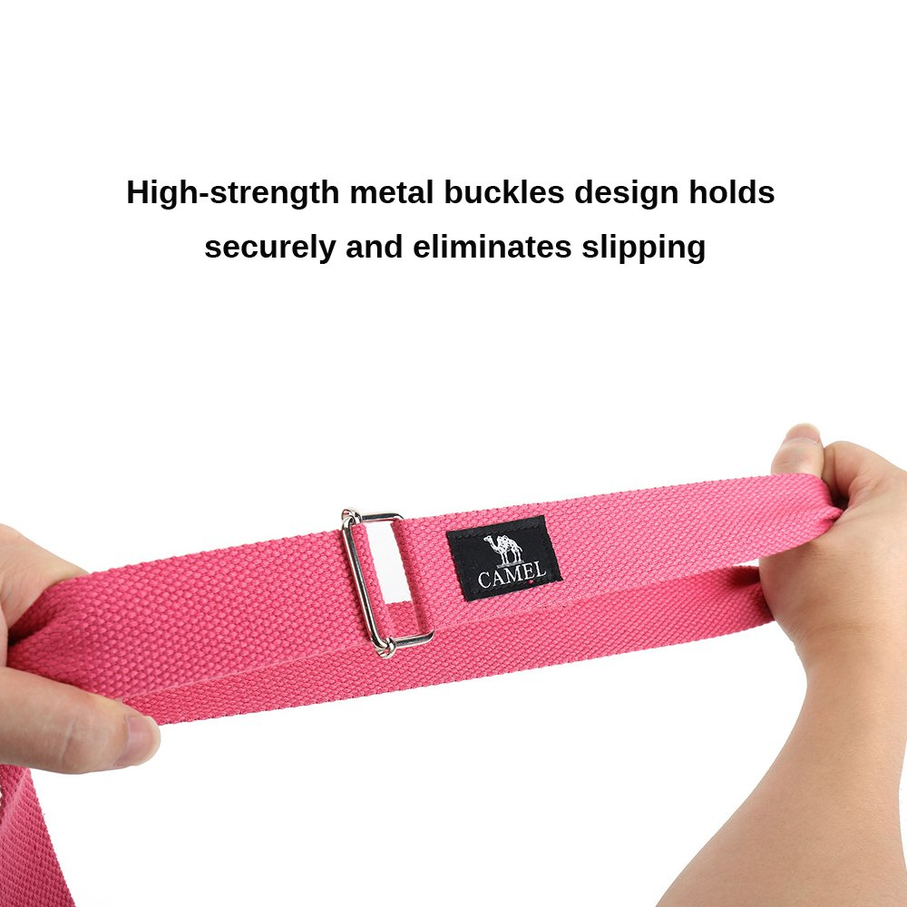 Camel Yoga Straps 6FT Durable Yoga Belt Strap Yoga Stretching Strap with Metal Adjustable Slide Buckle for Stretching,Yoga,General Fitness,Flexibility and Physical Therapy Color Pink