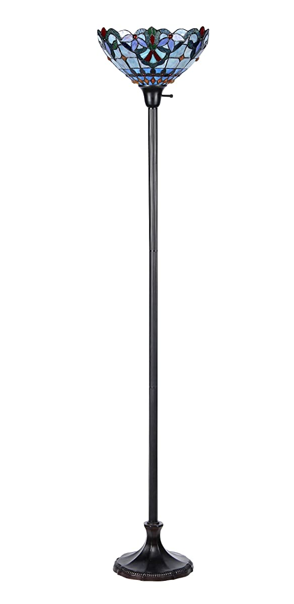 "Chloe Lighting CH33381VB14-TF1 Grenville Tiffany-Style Victorian 1 Light Torchiere Floor Lamp, 70.5"" x 14.1"" x 14.1"""