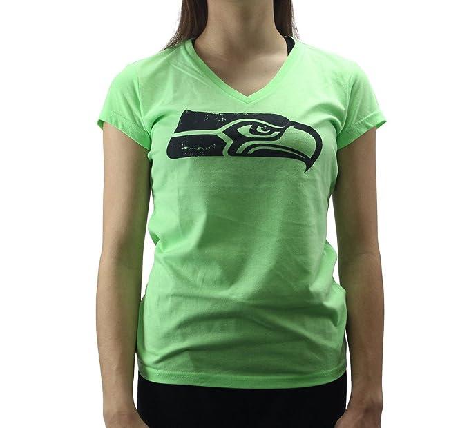 6d161006 Alyssa Milano Women's Seattle Seahawks Football Logo Neon Green T ...