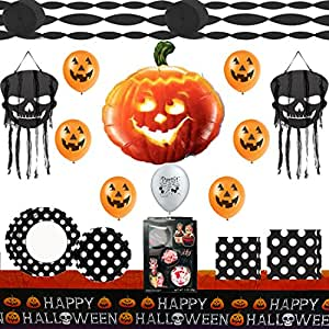 Happy Halloween Party Supplies and Balloon Decoration Deluxe Bundle