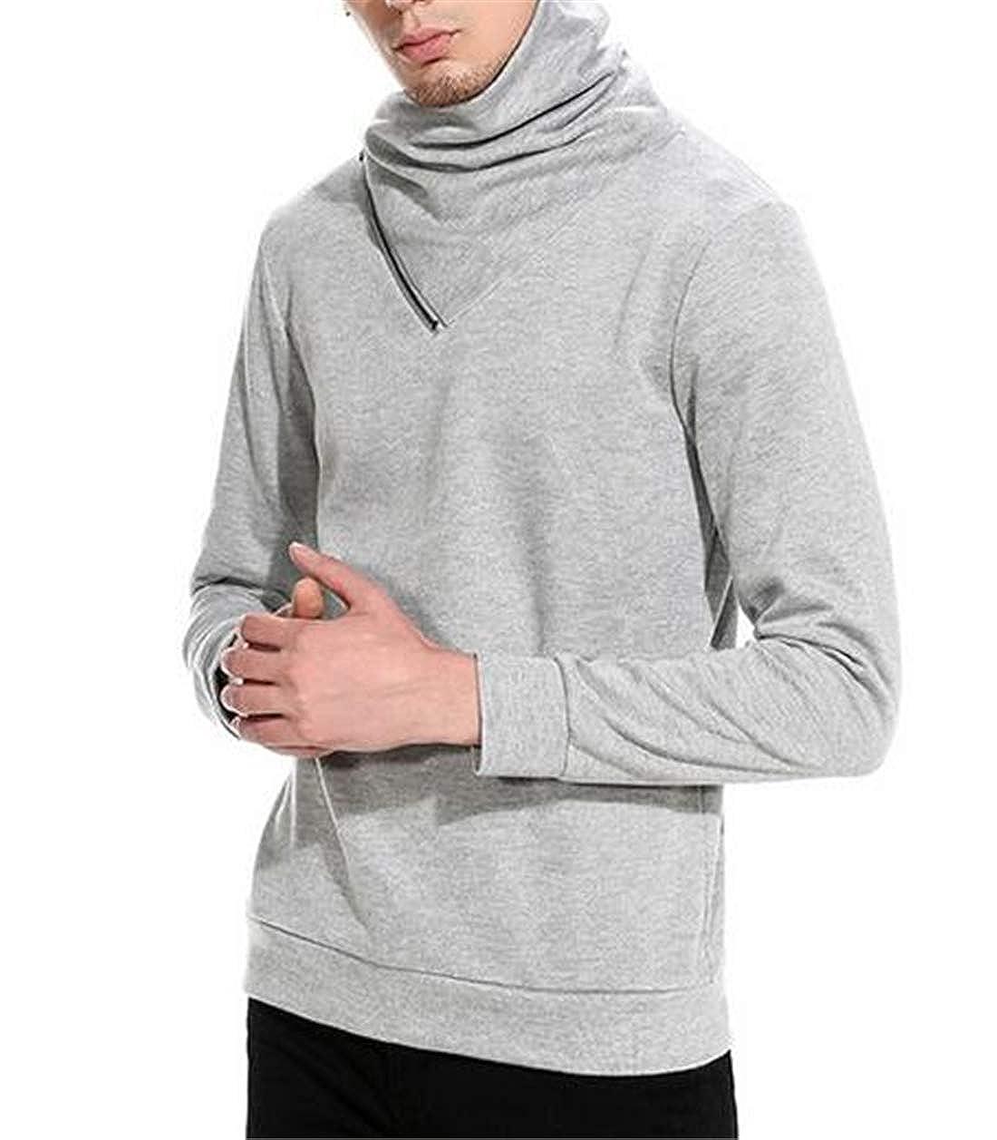 Spirio Men Basic Pullover Long Sleeve Knitting Oblique Zipper Casual Shawl Collar Sweater
