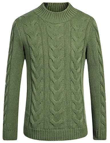 SSLR Men's Mock Neck Cable Knit Pullover Sweater (Medium, Green) (Pattern Grade Ribbed)