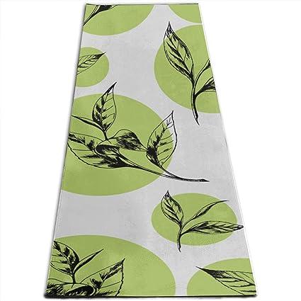 Amazon.com : CHQTG Happy Yoga Mat Pattern Tea Leaves Green ...