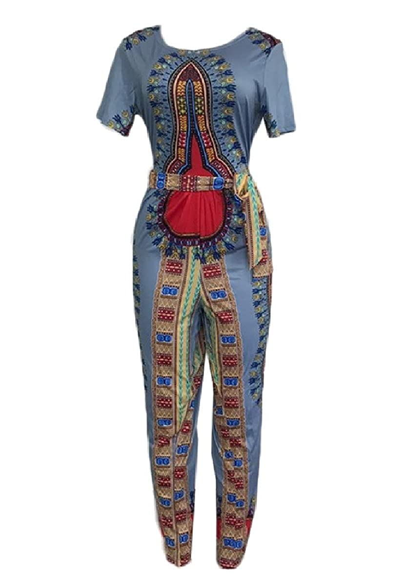 RDHOPE-Women African Dashiki Print Short Sleeves Stylish Party Jumpsuit Grey M