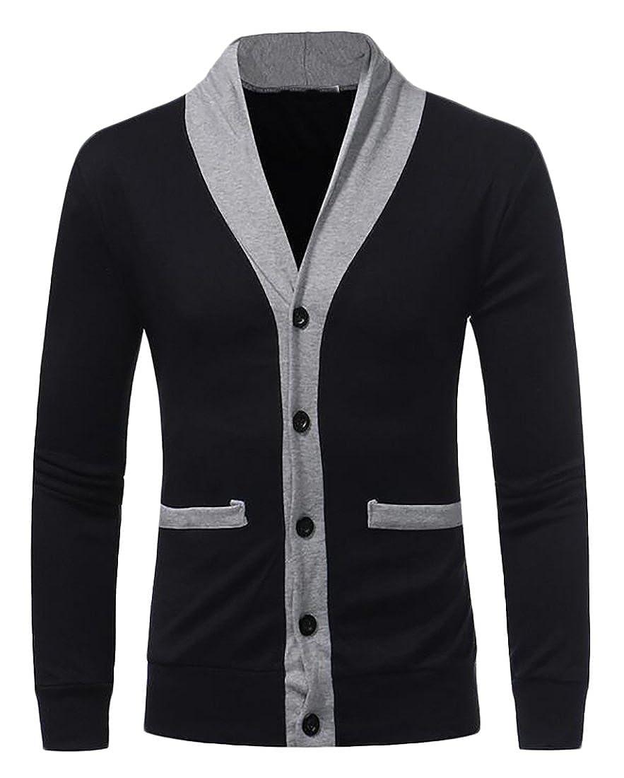Jmwss QD Mens Slim Fit Contrast Color Button Up Open Front Knit Cardigan