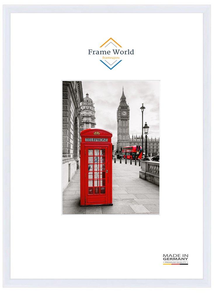 Frame World FW23 Echtholz Bilderrahmen für 61 cm x 91 cm Bilder, Farbe  Weiss-Matt, mit entspiegeltem Acrylglas (Antireflex) und HDF-Holz Rückwand, Rahmen Breite  23mm, Aussenmaß  64,4 cm x 94,4 cm