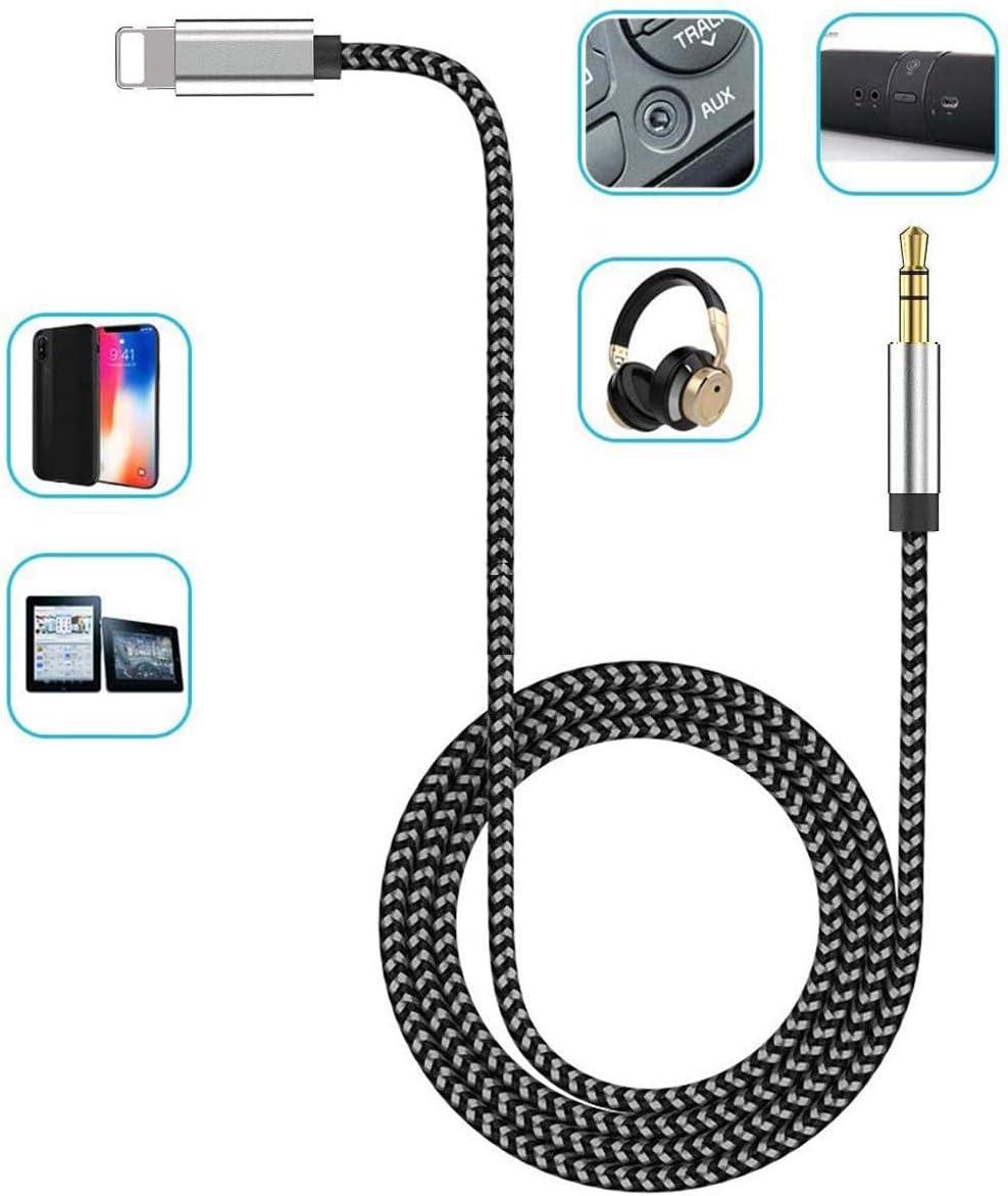 Cavo Audio Ausiliario per iPhone Adattatore Cavo audio Aux per auto Aux Cord da 3,5 mm per iPhone//iPad//iPod Compatibile Cuffi//Auto//Home Stereo//Altoparlanti Supporto Tutto Sistema IOS-Nero