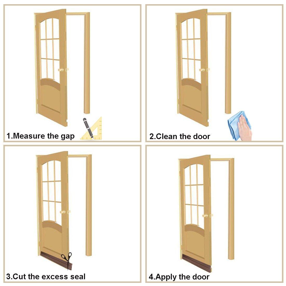 MAZU Door Bottom Seal Strip Energy & Money Saving in Winter Save Air Conditioner Cost Keep Bugs&Noise Off Under Door Sweep Weather Stripping Door Draft Stopper 2'' x 39'' (Brown) by MAZU (Image #7)