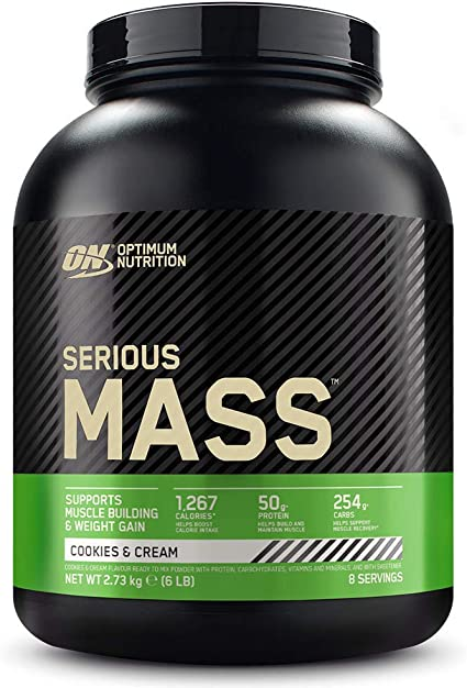 Optimum Nutrition Serious Mass Proteina en Polvo, Mass Gainer Alto en Proteína, con Vitaminas, Creatina y Glutamina, Galletas y Crema, 8 Porciones, ...