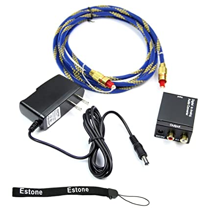 Estone Digital Optical Coaxial Toslink To Analog RCA L/R Audio Converter + Cable OD