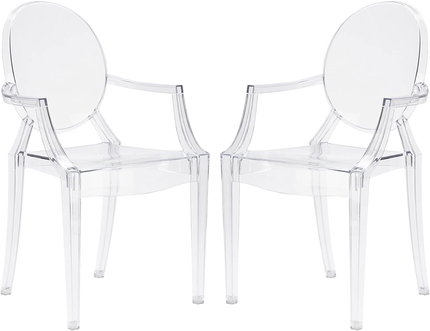 Poly and Bark Burton Arm Plastic Dining and Patio Ghost Chair, Stackable, Fully Assembled,Suitable for Indoor & Outdoor, Clear (Set of 2)