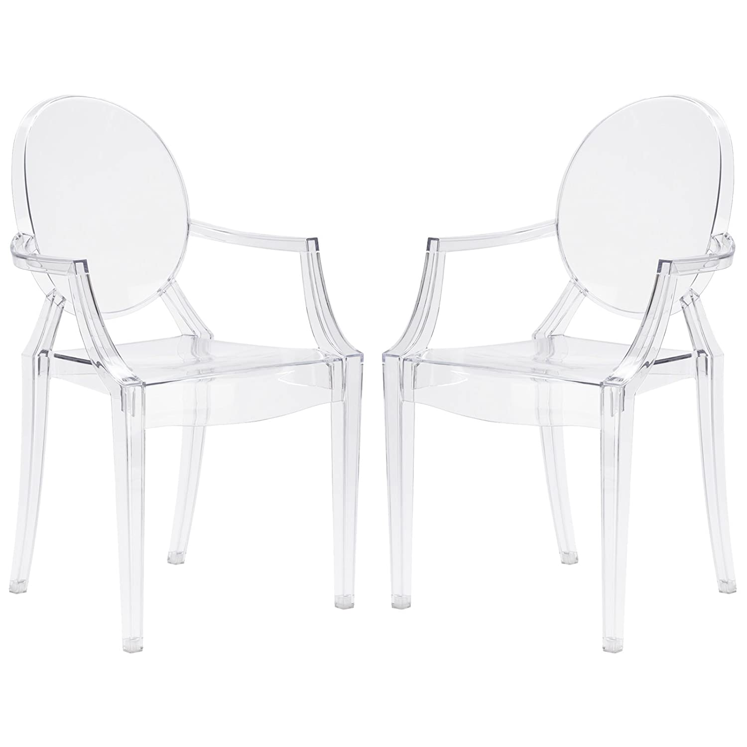 Poly and Bark Burton Arm Plastic Dining and Patio Ghost Chair, Stackable, Fully Assembled, Suitable for Indoor Outdoor, Clear Set of 2