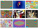 9x Fabric Poster Psychedelic Trippy Colorful Trippy Surreal Abstract Astral Digital Wall Art Prints 30x20