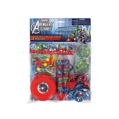 "Amscan Avengers Birthday Party Mega Mix Assorted Favor Kit (48 Pack), 11"" X 9"", Multicolor: Toys & Games"