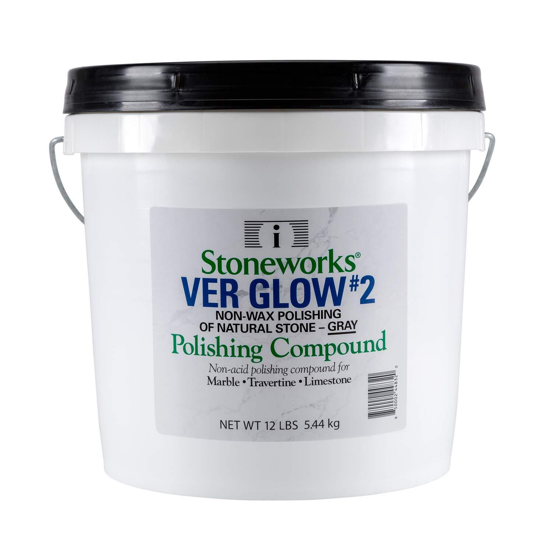 Ver Glow #2 Gray, (12 Lb) No-Wax Polishing Compound for Natural Stone (Marble, Travertine, Terrazzo, Limestone)