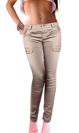 taille 40 e0f04 f7428 if she Pantalon Slim Femme Cargo Armée Poches latérales de Style Militaire  Super Stretch en Beige ou Gris