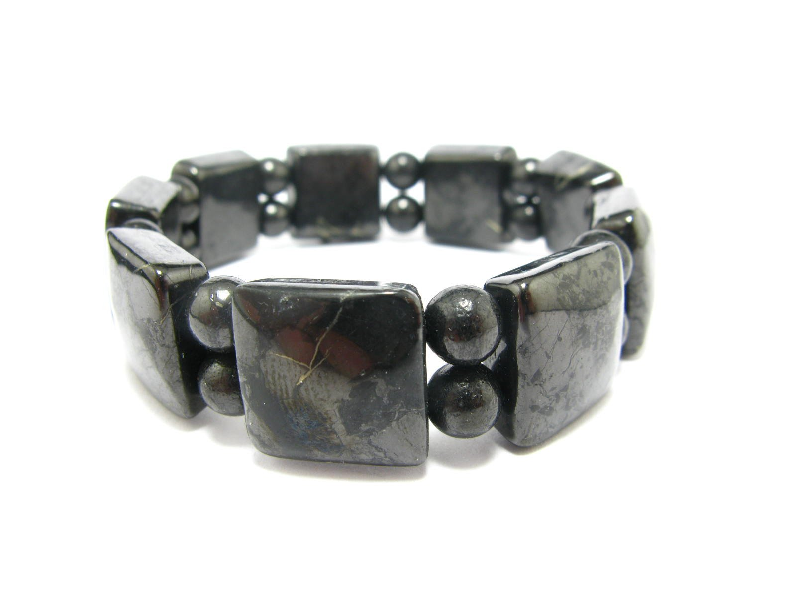 Shungite Bracelet From Russia - Squared + Round Beads