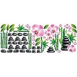 Grazdesign 39 wandtattoo deko f r badezimmer motiv steine und bambus spruch baden oase - Wandsticker bambus ...