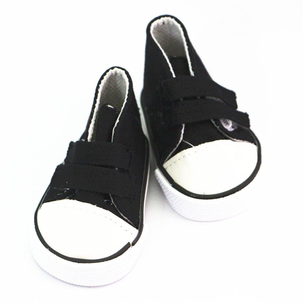 Blu MagiDeal Scarpe di Pattini Appuntiti Tela Canapa Canvas Cinghia Appiccicosa Sneakers Tennis per Bambola Americana Bambina 18